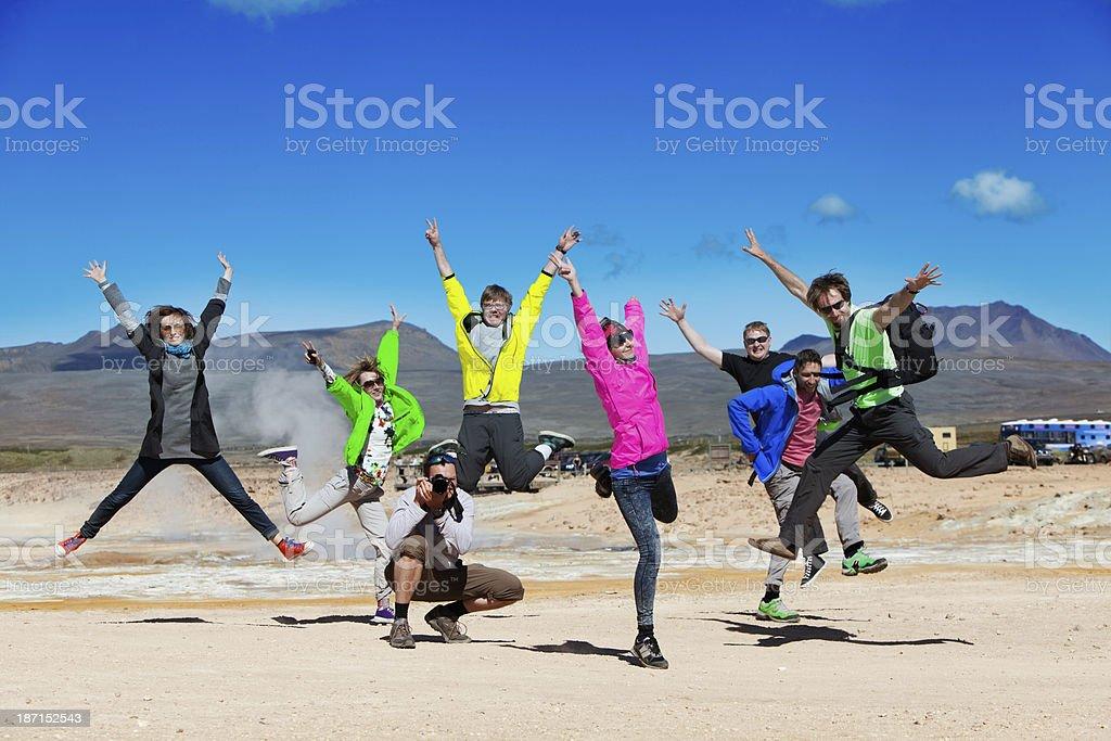 Jumping at Namaskard stock photo