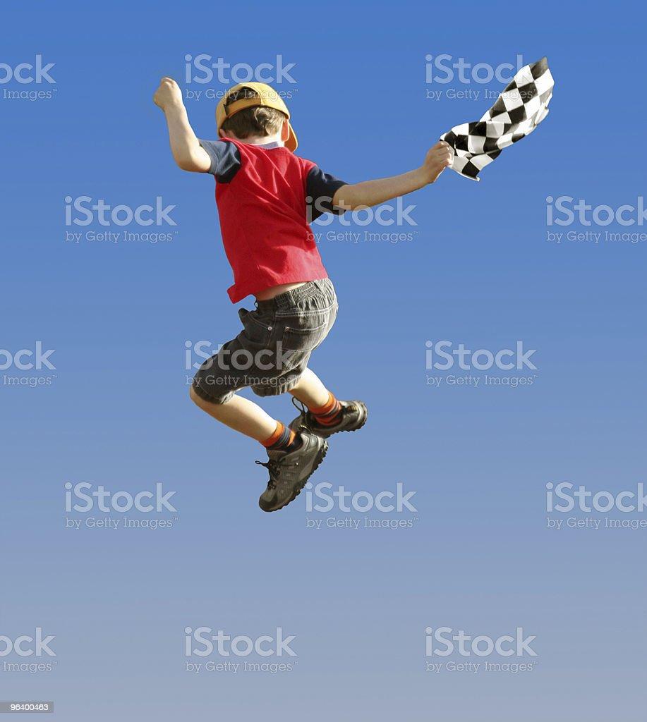 Jumping boy - Royalty-free Blue Stock Photo