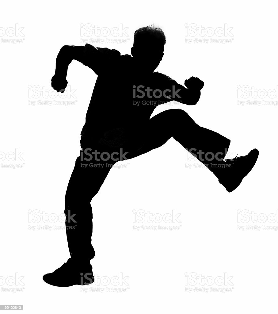 Jumping boy silhouette - Royalty-free Acrobat Stock Photo