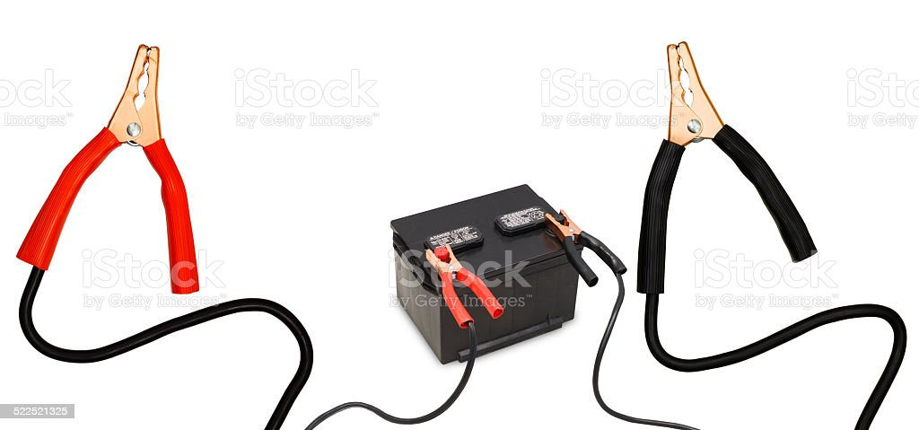 Jumping Car Battery stock photo