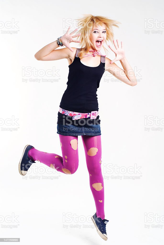 Jumping emo girl royalty-free stock photo