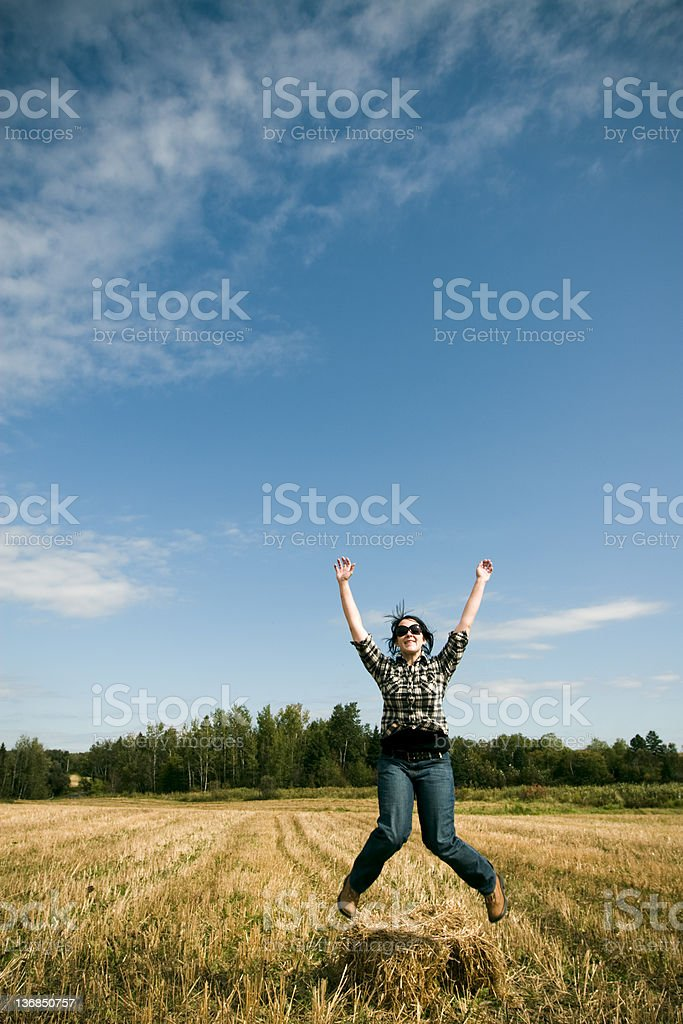Jumping farmer royalty-free stock photo
