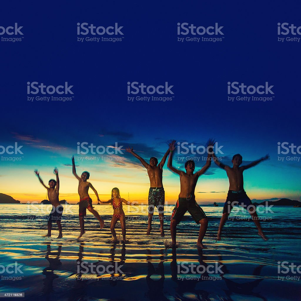 Jumping for fun stock photo