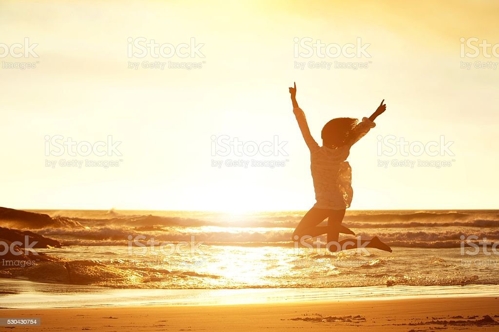 Jumping for joy stock photo
