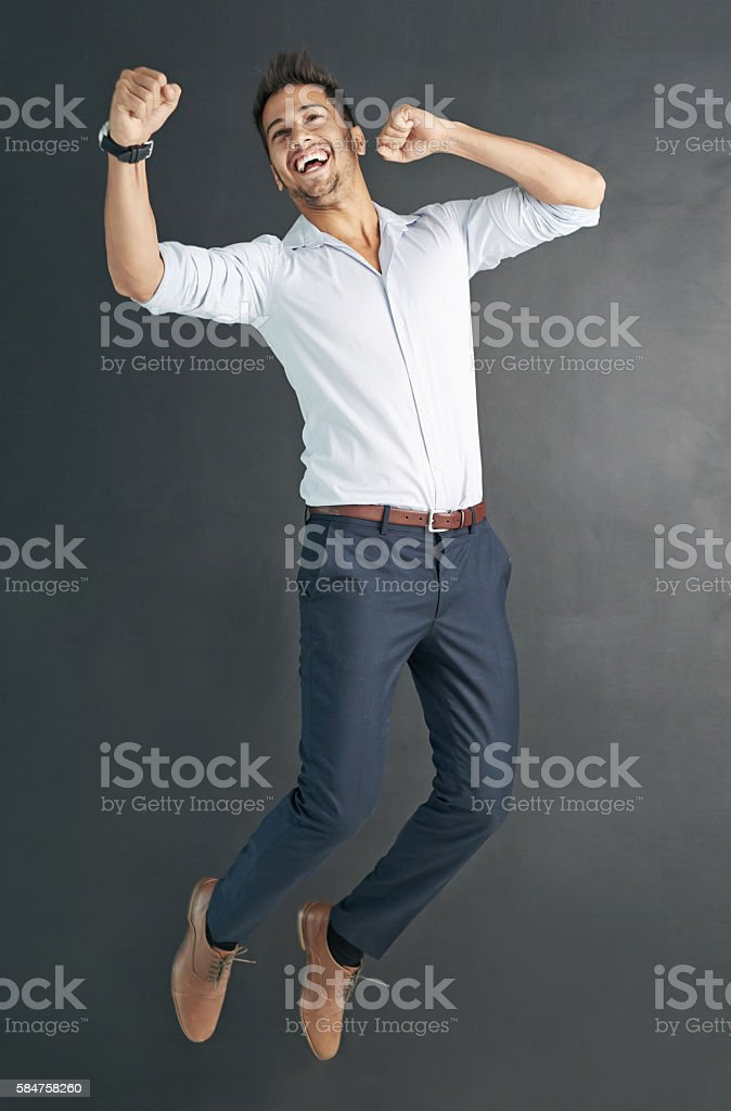 Jumping for joy! stock photo