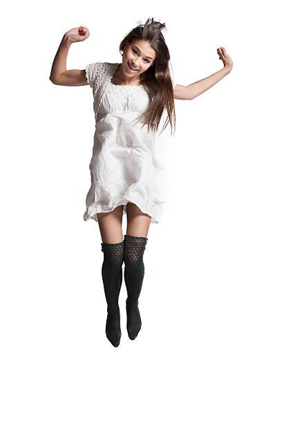 springen mädchen - enge kleider stock-fotos und bilder