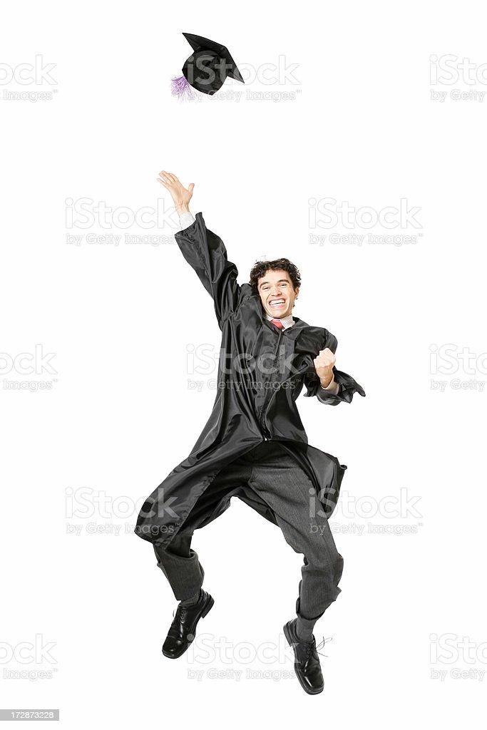 Jumping graduate royalty-free stock photo
