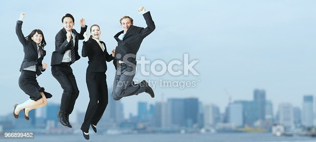 istock Jumping group of businessperson. 966899452