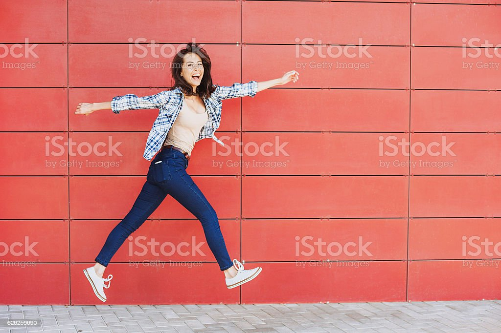 Jumping happy girl royalty-free stock photo