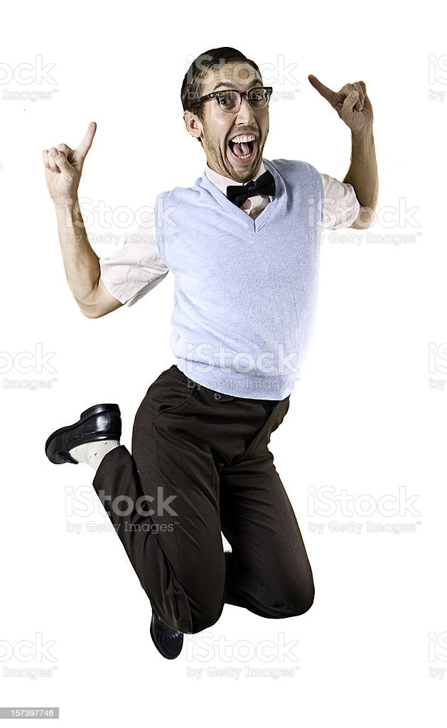 Jumping Happy Nerd Guy Isolated on White stock photo