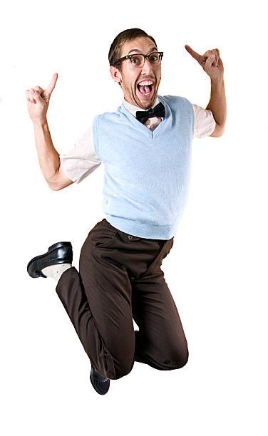 ジャンプなオタク男白で分離 - エキセントリック ストックフォトと画像