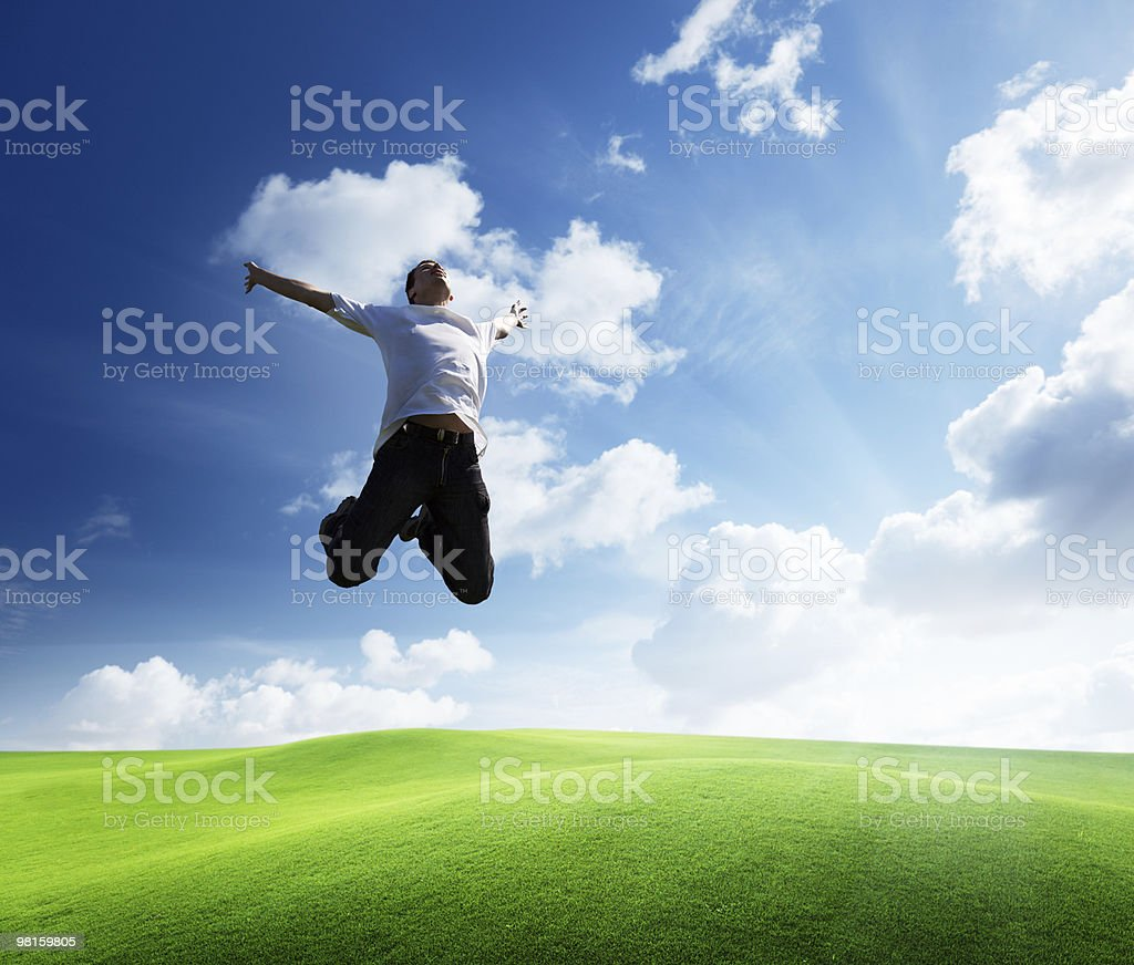 jumping happy young man royalty-free stock photo
