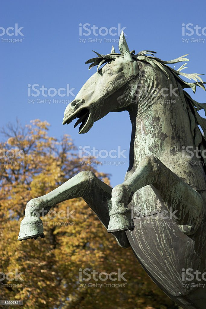 Jumping Horse / Bronze Statue royalty-free stock photo