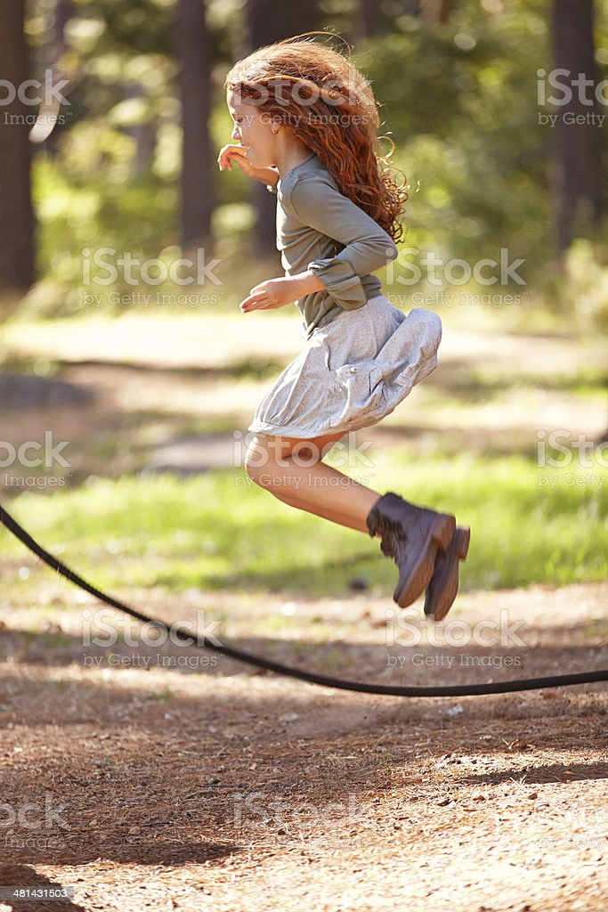 Jumping in happiness stock photo