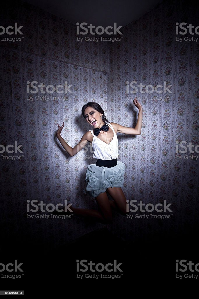 Jumping in joy royalty-free stock photo