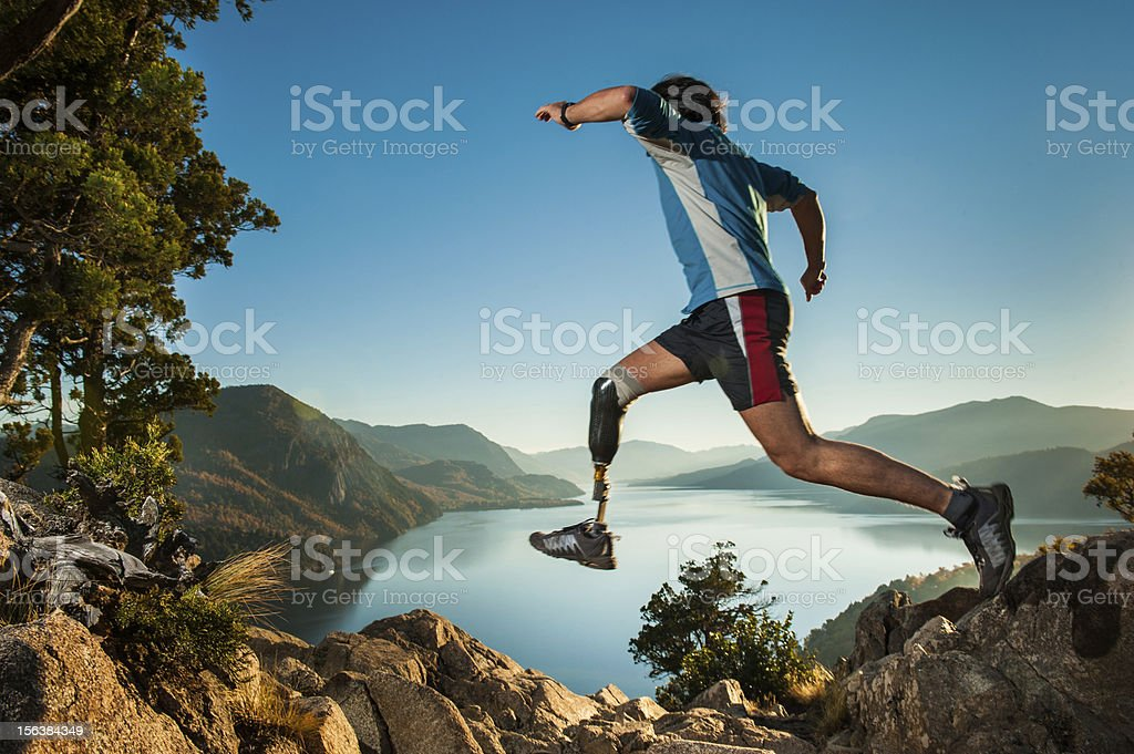 Jumping in Patagonia Argentina. stock photo