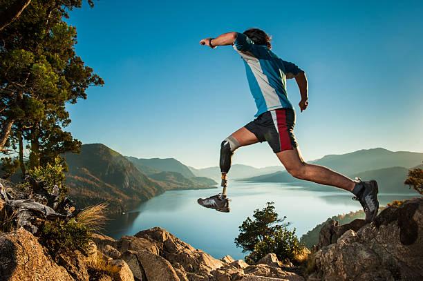 jumping in patagonia argentina. - protesutrustning bildbanksfoton och bilder