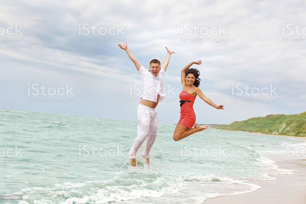 Jumping in the sea royalty-free stock photo