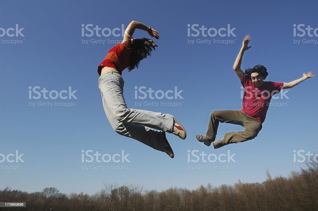 jumping in the sky - 4 royalty-free stock photo