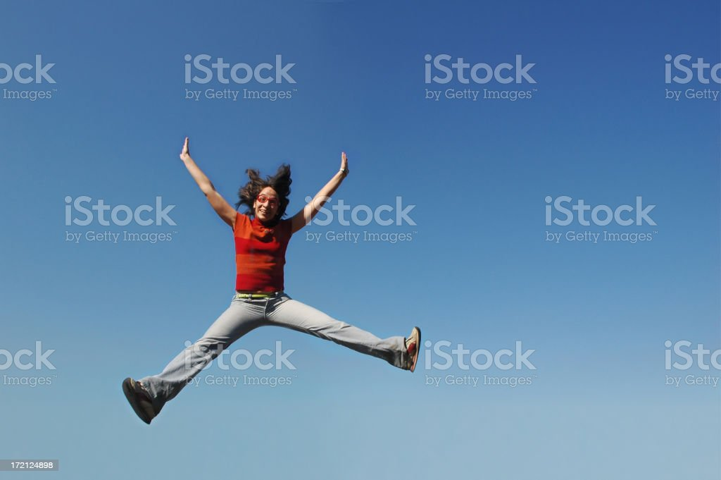 jumping in the sky royalty-free stock photo