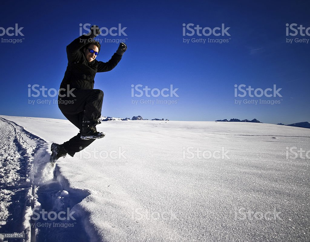 Jumping in the snow royalty-free stock photo