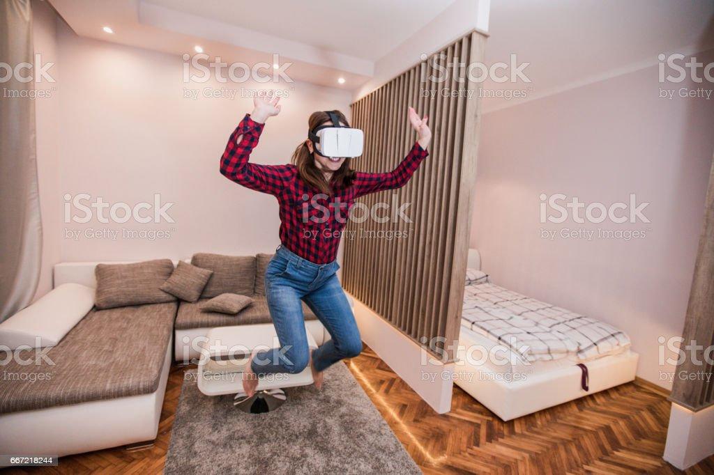 Jumping in virtual life royalty-free stock photo