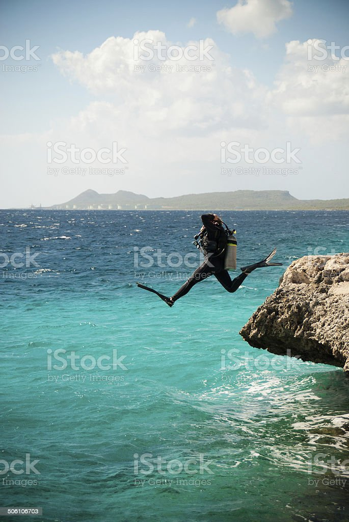 Jumping Into the Unknown stock photo