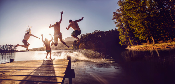 Jumping into the water from a jetty