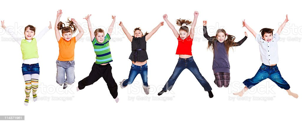 Jumping kids collection stock photo