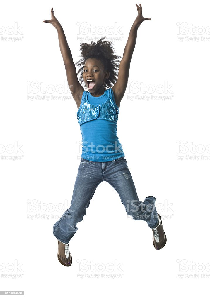 Jumping little girl stock photo