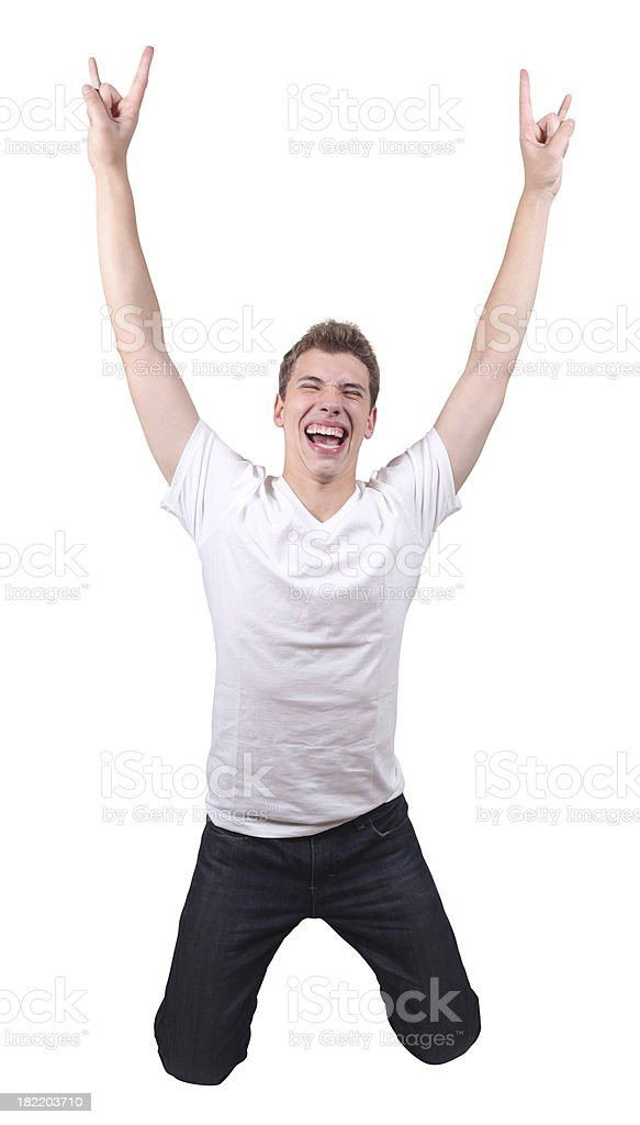 Jumping male arms extended royalty-free stock photo