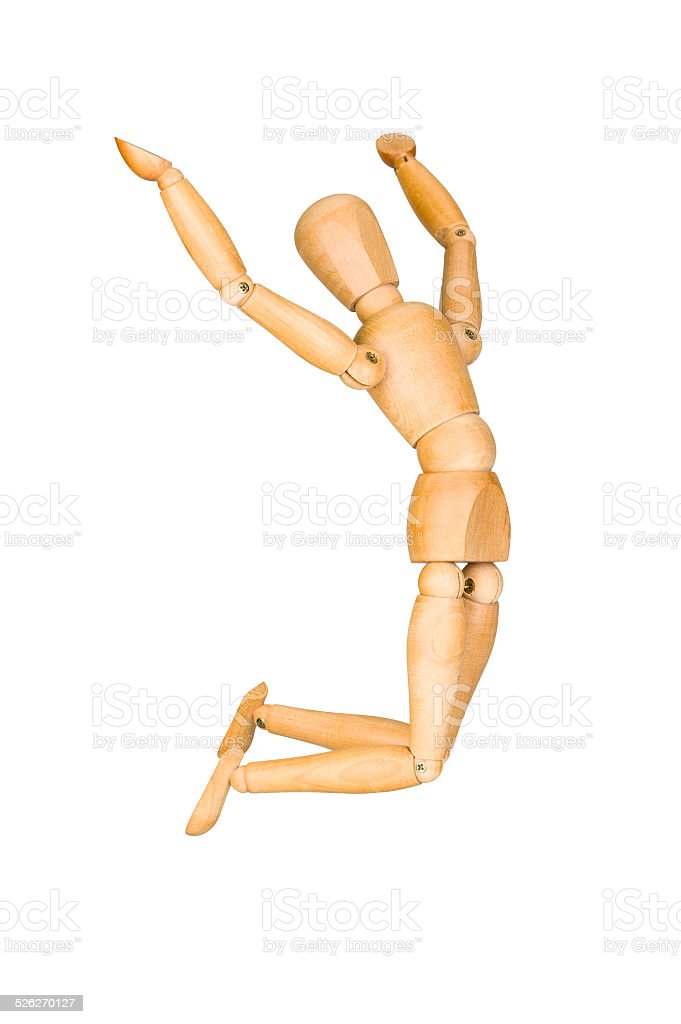 Jumping mannequin isolated stock photo