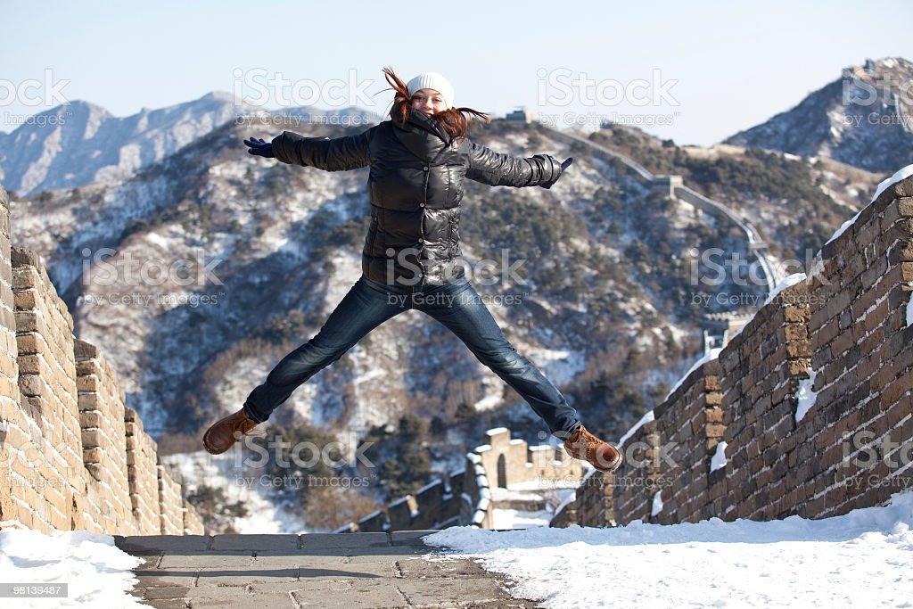 뛰어내림 그레이트 Wall royalty-free 스톡 사진