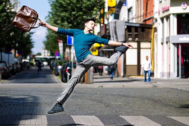 jumping over a pedestrian crossing - double_p stockfoto's en -beelden