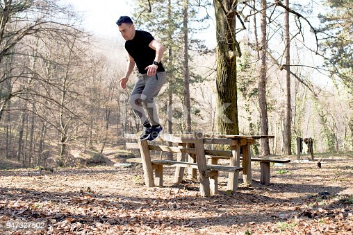 485902386istockphoto Jumping over the bench, exercise 947327502