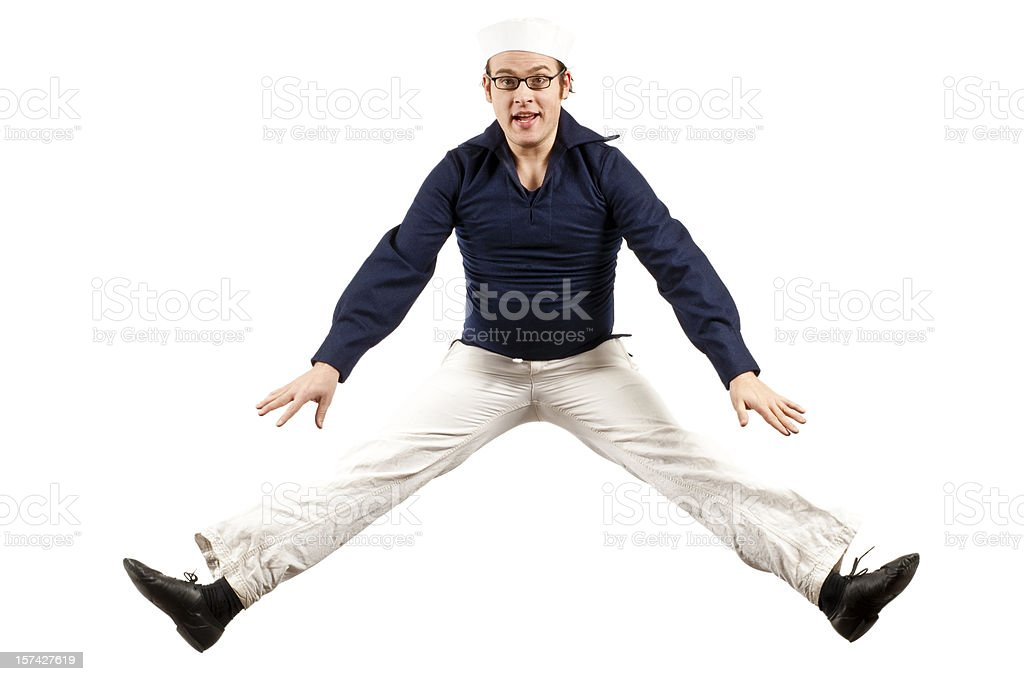 Jumping Sailor stock photo