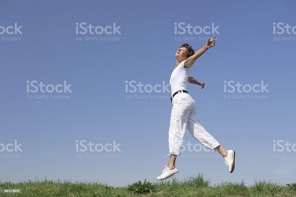 Jumping senior royalty-free stock photo