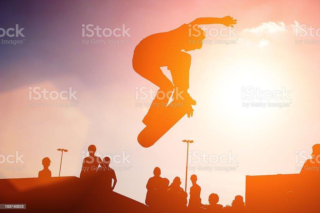 Jumping skateboarder royalty-free stock photo
