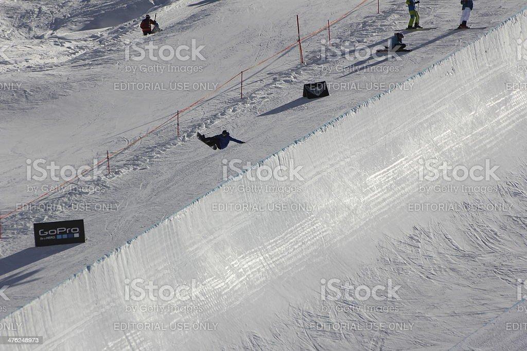Jumping Snowboarder in Halfpipe, Snowboarding, Freestyle, Winter Season stock photo