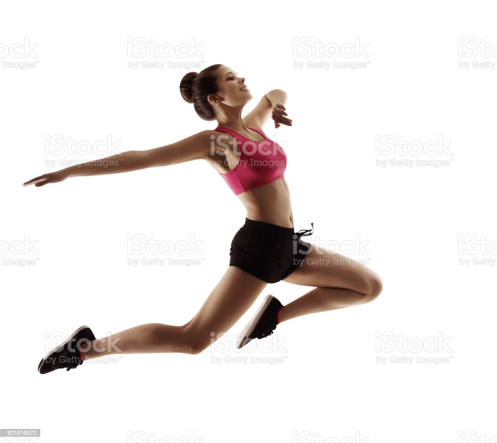 Jumping  Sport Woman, Happy Fitness Girl in Jump, Active People on White stock photo