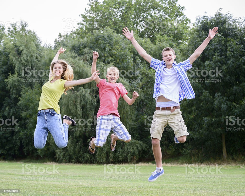 Jumping Teenagers royalty-free stock photo
