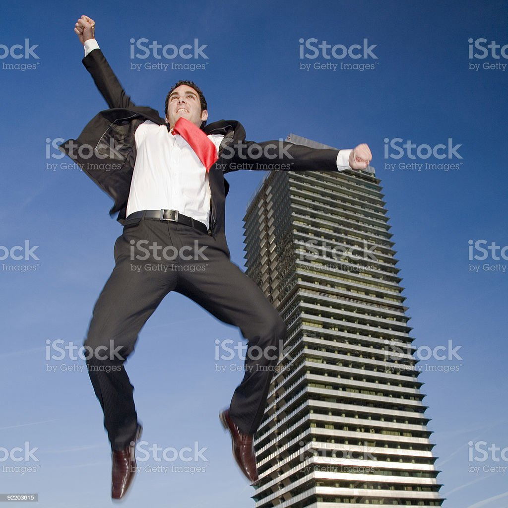 Jumping to cellebrate his success royalty-free stock photo