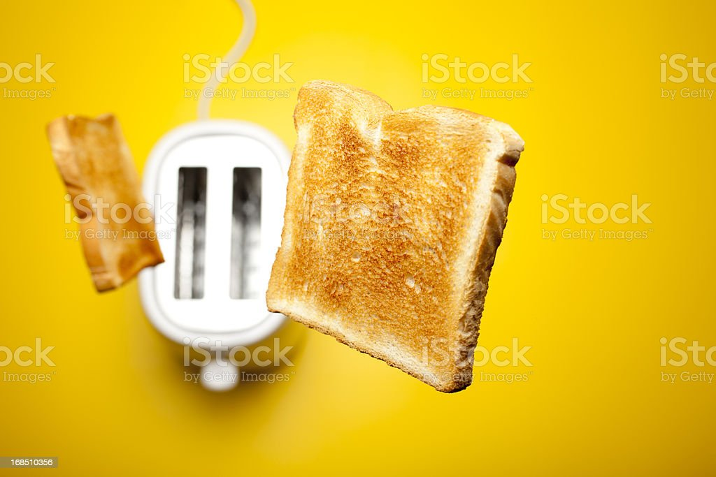Jumping toast bread stock photo