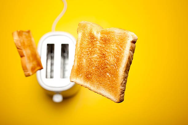 Jumping toast bread stock photo