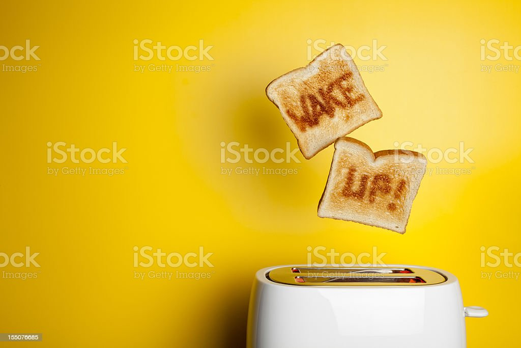 Jumping toast bread - Wake up! stock photo
