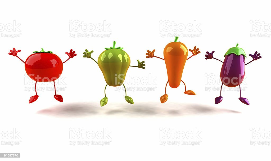 Jumping vegetables royalty-free stock photo