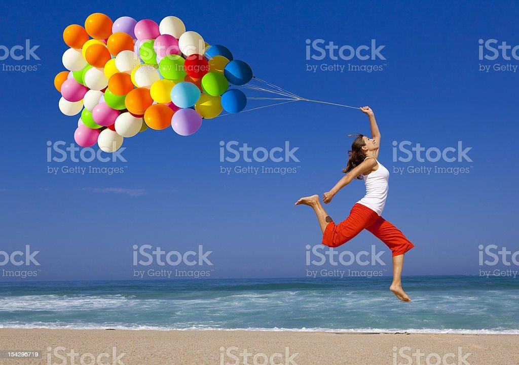 Springen mit Ballons – Foto