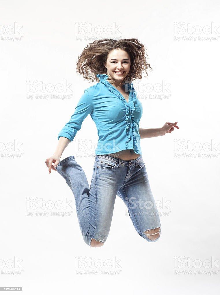 Jumping woman royalty-free stock photo