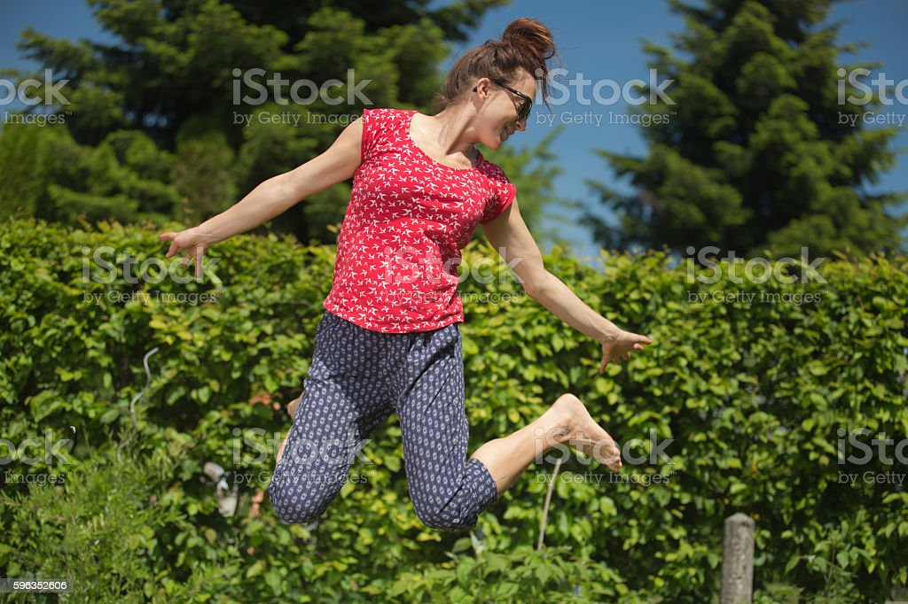 Jumping Women royalty-free stock photo