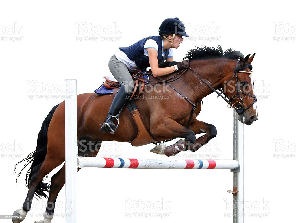 Jump!Young rider show jumping isolated on white, Norway stock photo